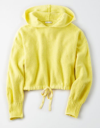 AE Cinched Waist Cropped Hooded Sweater Yellow