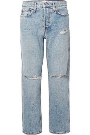 RE/DONE | Low Slung Crop distressed boyfriend jeans | NET-A-PORTER.COM