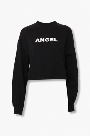 Angel Graphic Mock Neck Top | Forever 21