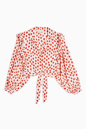Red Spot Frill Tie Front Blouse | Topshop