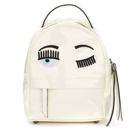 Chiara Ferragni Eyes Flirting Mini Backpack In White Vinyl