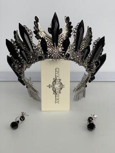 Diana moon goddess crystal crown headpiece - Elven fantasy tiara diadem