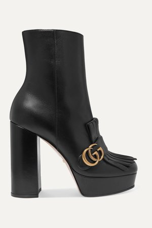 GUCCI Marmont fringed logo-embellished leather platform ankle boots