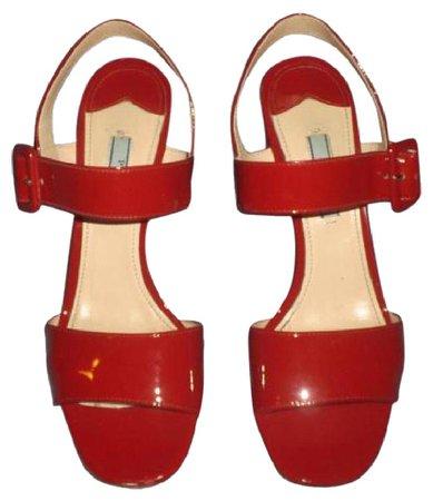 Prada Patent Chunky Heels RED Sandals