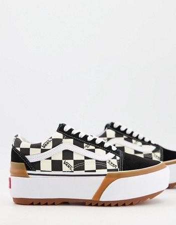 Vans UA Old Skool checkerboard sneakers in black/white | ASOS