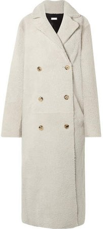 Reversible Double-breasted Shearling Coat - Off-white