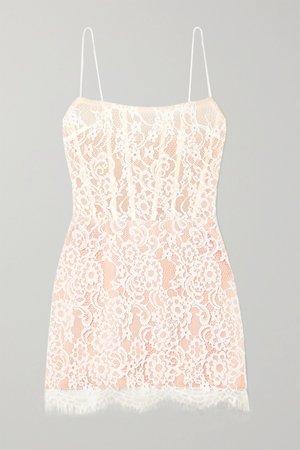 White Lace and tulle mini dress | RASARIO | NET-A-PORTER