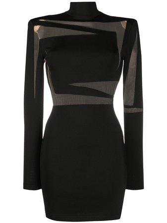 Balmain Sheer-Panel Fitted Mini-Dress Ss20   Farfetch.com