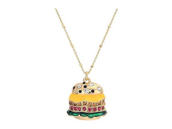 Betsey Johnson Hamburger Pendant Necklace Multi One Size: Clothing