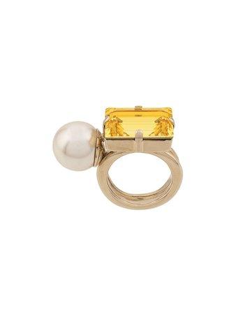 Dries Van Noten Dries Van Noten Pearl Crystal Embellished Ring - Yellow - 10939607 | italist