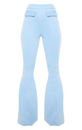 Baby Blue High Waist Flare Leg Trouser   PrettyLittleThing