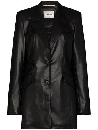 Shop black Nanushka Cancun vegan leather blazer with Express Delivery - Farfetch