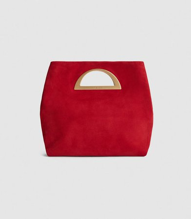 Belgravia Red Suede Fold Over Clutch Bag – REISS