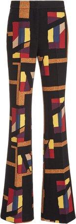 Akris Farida Printed Wool-Blend Flared Pants