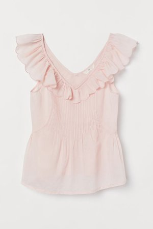 Ruffle-trimmed Cotton Top - Light pink - Ladies | H&M US