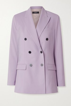 Double-breasted Wool-blend Blazer - Lilac