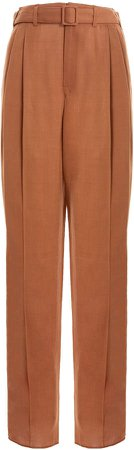 Belted Pleated Straight-Leg Trousers