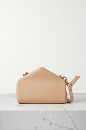 A Triangle Small Leather Shoulder Bag - Beige