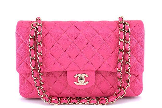 NIB 19C Chanel Pink Caviar Medium Classic Double Flap Bag GHW