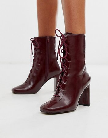 ASOS DESIGN Expression lace up heeled boots in burgundy   ASOS