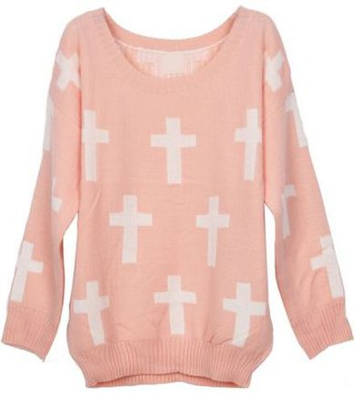 PASTEL PINK SWEATER WITH WHITE COLLAR on The Hunt