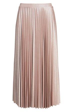 Halogen® Metallic Pleat Midi Skirt (Regular & Petite)   Nordstrom