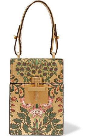 Oscar de la Renta | Alibi floral-print metallic textured-leather clutch | NET-A-PORTER.COM