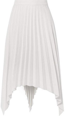 Ilsie Asymmetric Pleated Wool-blend Midi Skirt - Off-white