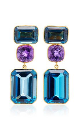 One-Of-A-Kind London Blue Topaz Earrings by Bahina | Moda Operandi