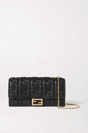 Embossed Leather Shoulder Bag - Black