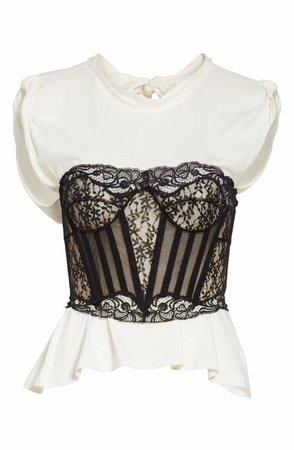 Alexander Wang Cotton Top with Lace Bustier