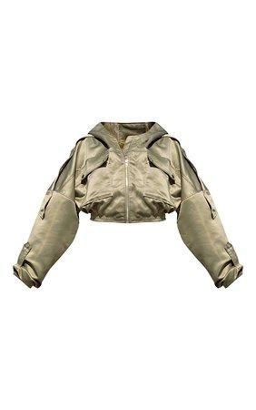 Green Hooded Pocket Bomber Jacket   PrettyLittleThing USA