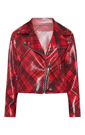 Red Checked Pu Biker | Coats & Jackets | PrettyLittleThing