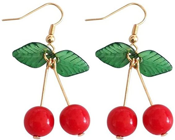 Amazon.com: 18K Gold Plated Sweety Fruit Green Leaf Red Cherry Charm Women Girls Dangle Earring: Clothing