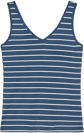 Stripe Ribbed V-Back Tank