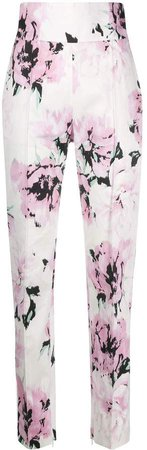 rose-print tailored trousers