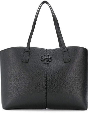 logo plaque leather tote bag