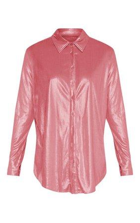 Pink Metallic Button Front Shirt | PrettyLittleThing USA