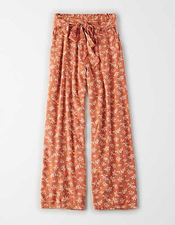 red floral flowy pants