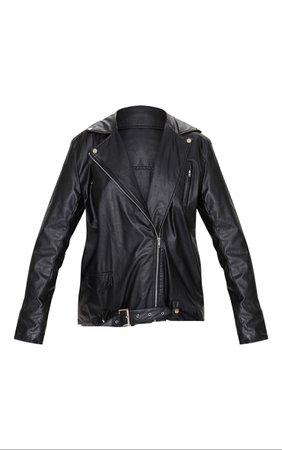 Black Faux Leather Oversized Biker Jacket   PrettyLittleThing