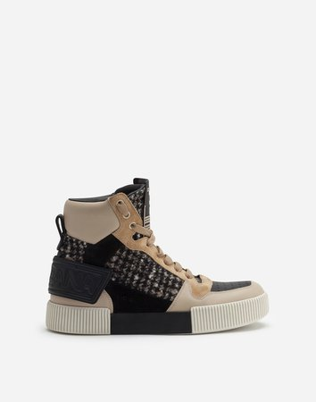 Miami High Top Sneakers In Houndstooth And Nappa Leather