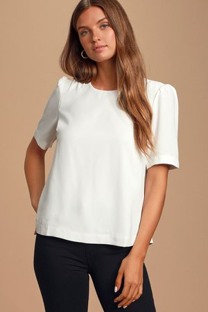 Chic White Blouse - Button-Back Blouse - Short Sleeve Top