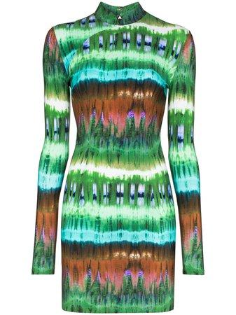 Marcia Mireille Tie-Dye Mini Dress MC10TDGCR20 Green | Farfetch