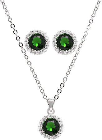 green jewelry set circle