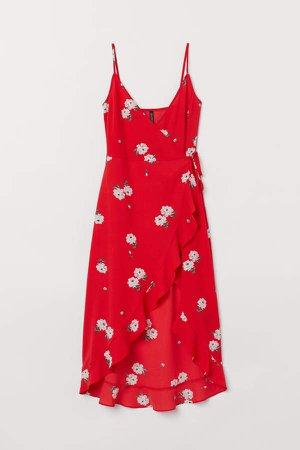 Flounced Wrap Dress - Red