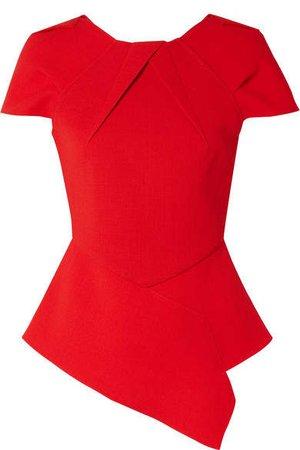 Bracknell Asymmetric Wool-crepe Peplum Top - Red