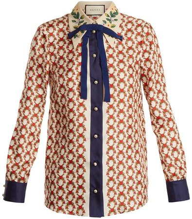 Gucci Button Up Blouse With Bow