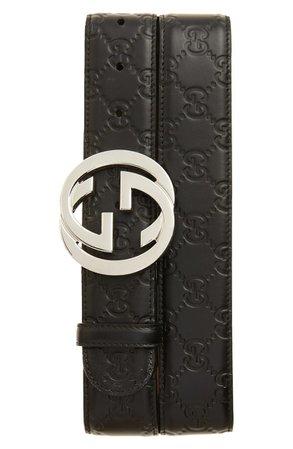 Gucci Logo Embossed Leather Belt | Nordstrom