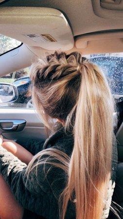 braided blonde ponytail
