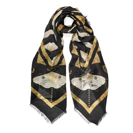 Black and Gold silk scarf at WOLF & bADGER